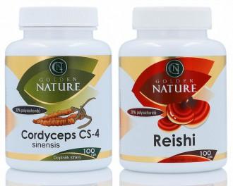 VÝHODNÉ SETY - Golden Nature Cordyceps CS-4 100 cps. + Golden Nature Reishi 100 cps.