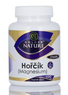 KOMPLETNÍ SORTIMENT - Golden Nature Magnesium (Hořčík) Chelate+Vitamin B6 100 cps.