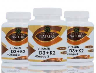 AKČNÍ BALÍČKY 2+1 - 2+1 Golden Nature Vitamin D3 2000 I.U.+K2 MK-7+Omega 3 300 cps.