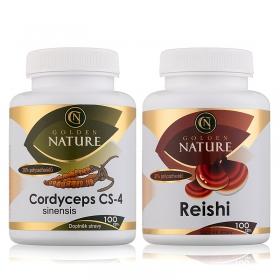 Golden Nature Cordyceps CS-4 100 cps. + Golden Nature Reishi 100 cps.